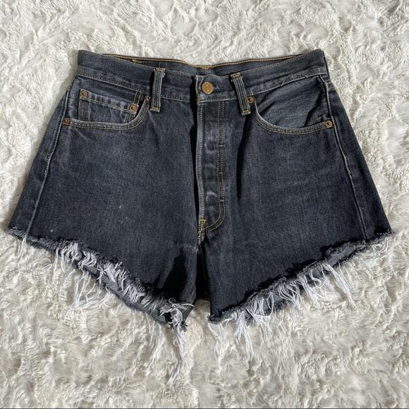 Levi's vintage 501 faded black cut-off shorts 26
